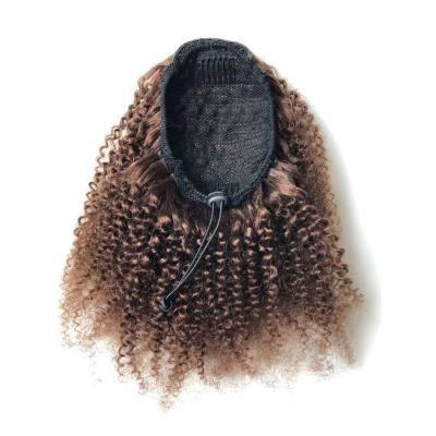 "10 - 24"" Drawstring Ponytail Human Hair Brazilian Hair Extensions Afro Kinky Curly Ponytail Brown #4"