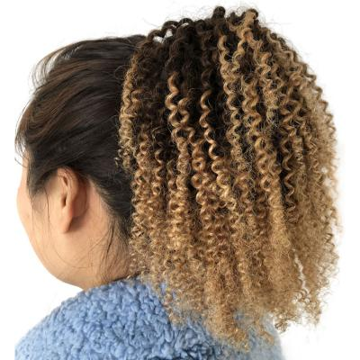 """10 - 24"""" Drawstring Ponytail Human Hair Brazilian Hair Extensions Afro Kinky Curly Ponytail Ombre 1B/4/27"""
