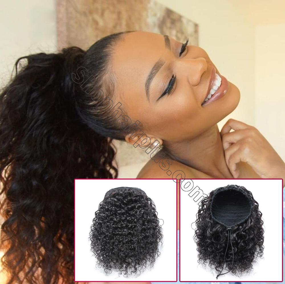 "10 - 30"" Loose Curly Drawstring Ponytail Human Hair Extensions 5"