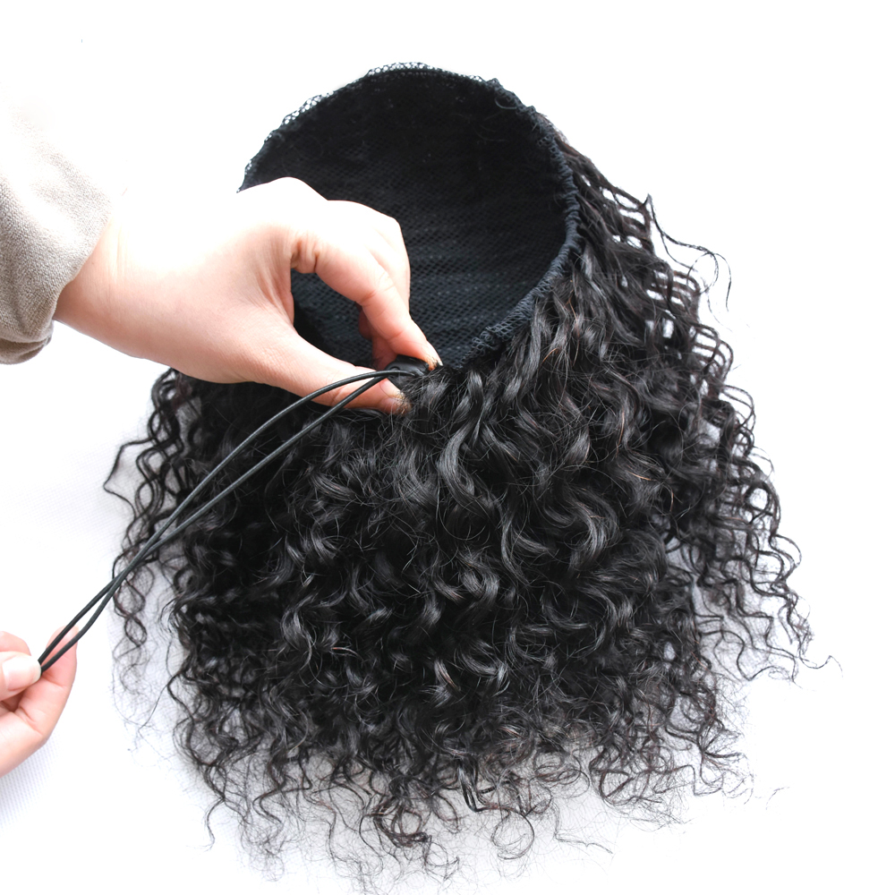 "10 - 30"" Loose Curly Drawstring Ponytail Human Hair Extensions 9"