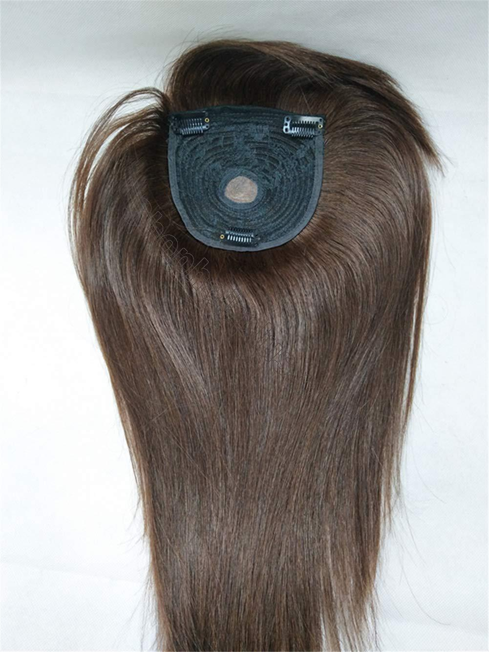 """18"""" Long Straight Human Hair Crown Topper with Bangs, Clip ..."""