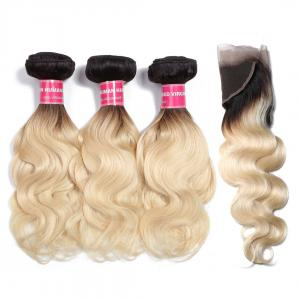 1B/613 Body Wave Ombre Hair 3 Bundles with 13*4 Frontal Closure, 2 Tone Color Human Hair Weave Extensions For Sale