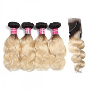 1B/613 Body Wave Ombre Hair 4 Bundles with 13*4 Frontal Closure, 2 Tone Color Human Hair Weave Extensions For Sale