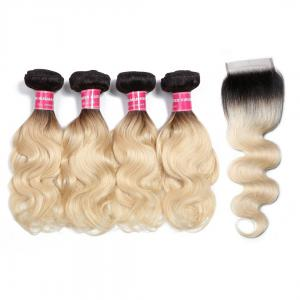 1B/613 Body Wave Ombre Hair 4 Bundles with 4*4 Closure, 2 Tone Color Human Hair Weave Extensions For Sale