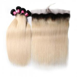 1B/613 Straight Ombre Hair 4 Bundles with 13*4 Frontal Closure, 2 Tone Color Human Hair Weave Extensions For Sale