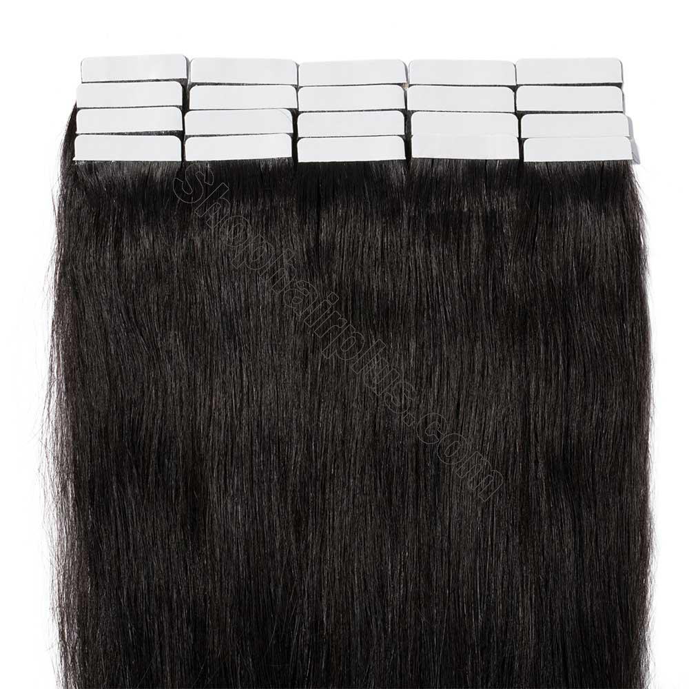 2.5g/s 20pcs Straight Tape In Hair Extensions #1B Natural Black 5