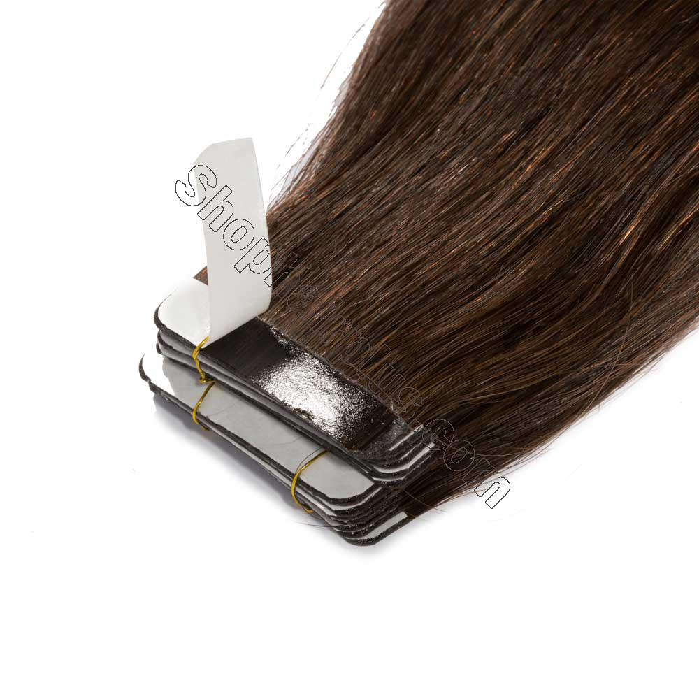 2.5g/s 20pcs Straight Tape In Hair Extensions #2 Dark Brown 4
