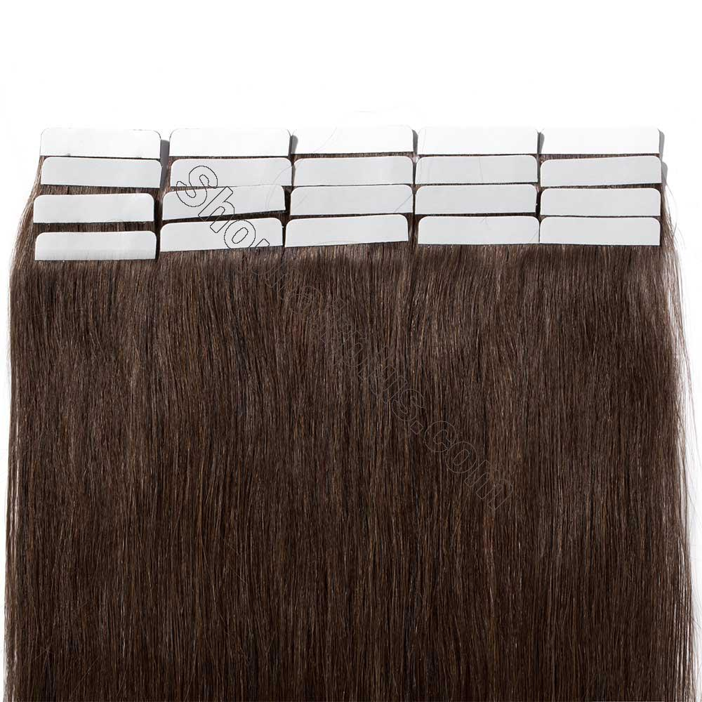 2.5g/s 20pcs Straight Tape In Hair Extensions #4 Medium Brown 6