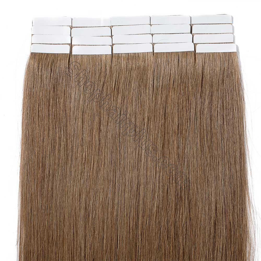 2.5g/s 20pcs Straight Tape In Hair Extensions #6 Light Brown 5