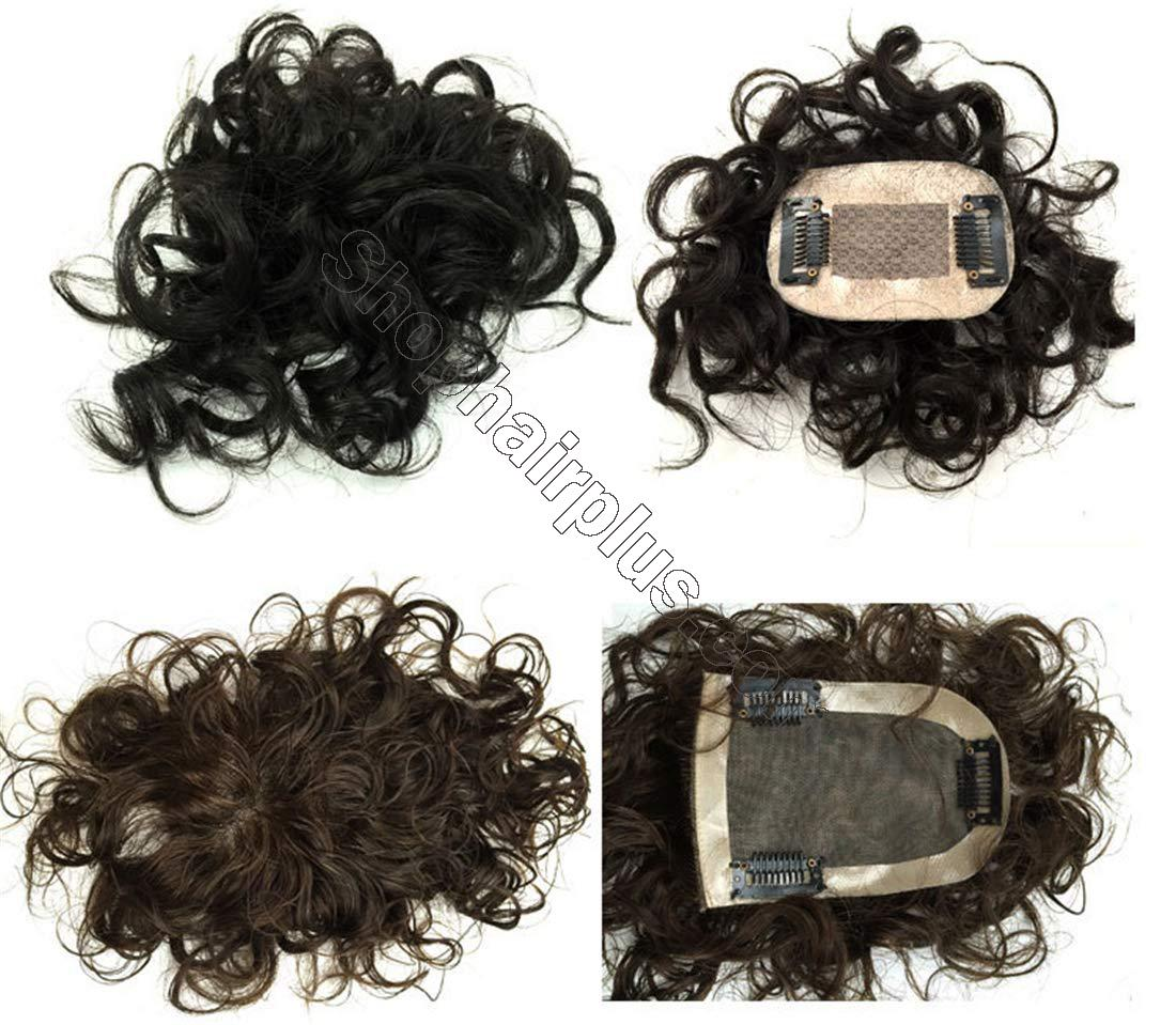 """2""""x3"""" Silk Top Curly Human Hair Toppers for Women with Crown Thinning Hair, 6"""" Short Clip on Bang Wiglet Hair Pieces 2"""