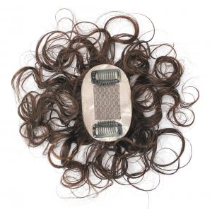 "2""x3"" Silk Top Curly Human Hair Toppers for Women with Crown Thinning Hair, 6"" Short Clip on Bang Wiglet Hair Pieces"