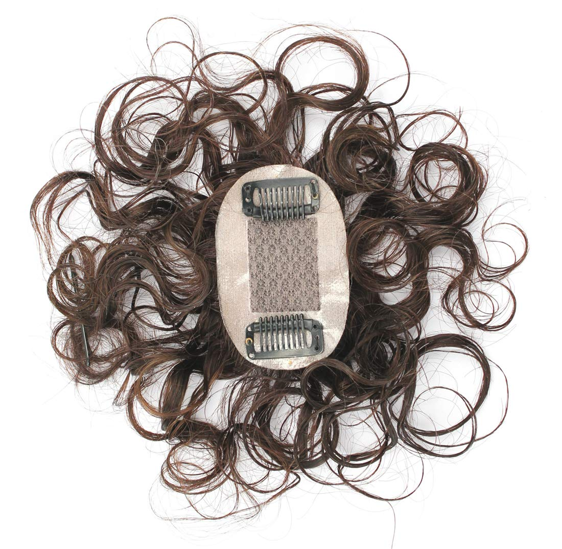 """2""""x3"""" Silk Top Curly Human Hair Toppers for Women with Crown Thinning Hair, 6"""" Short Clip on Bang Wiglet Hair Pieces 4"""