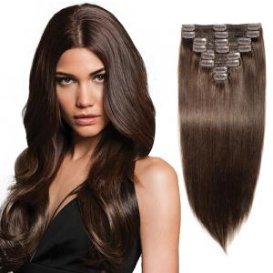 22Inch 8 Pcs Double Weft Straight Clip In Remy Hair Extensions #2 Dark Brown