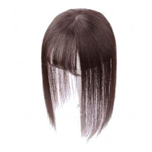 "3"" x 4.3"" Crown Topper Human Hair for Women with 3D Air Bangs, Clip in Hair Toppers for Thinning Hair"