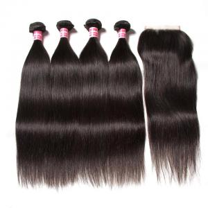 4 Bundles Brazilian Straight Hair with 4*4 Lace Closure