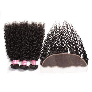 4 Bundles Indian Curly Hair with Ear to Ear Lace Frontal Closure
