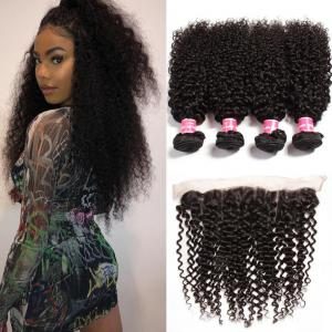 4 Bundles Malaysian Curly Hair with Ear to Ear Lace Frontal Closure