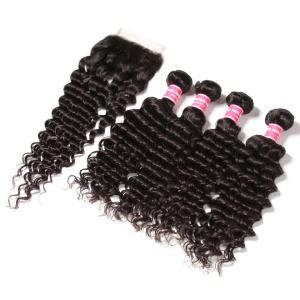 4 Bundles Malaysian Deep Wave Curly Hair with 4*4 Lace Closure