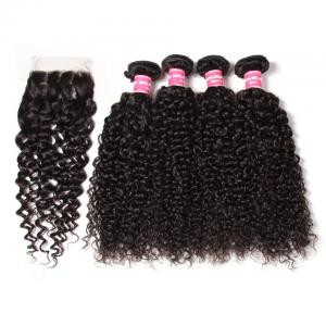 4 Bundles Peruvian Jerry Curly Hair Weave Bundles with 4*4 Lace Closure, 7a Grade, 100% Human Hair