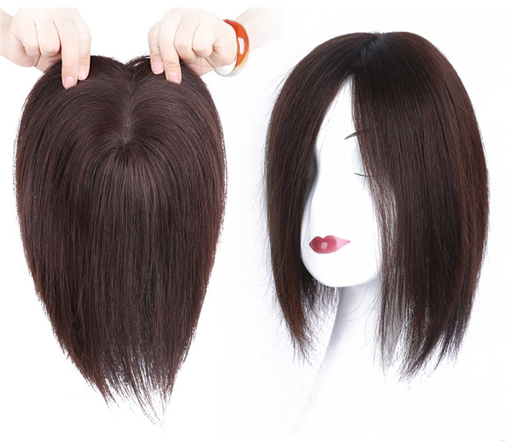 """4""""x4.7"""" Mono Human Hair Crown Wig Topper Women's Clip in Top Hair Piece for Thinning Hair"""