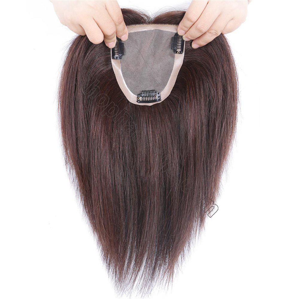 """4""""x4.7"""" Mono Human Hair Crown Wig Topper Women's Clip in Top Hair Piece for Thinning Hair 2"""