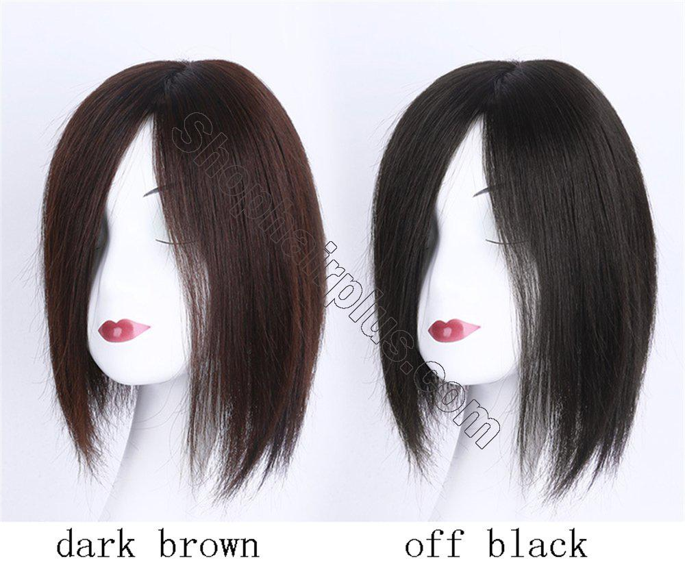 """4""""x4.7"""" Mono Human Hair Crown Wig Topper Women's Clip in Top Hair Piece for Thinning Hair 3"""