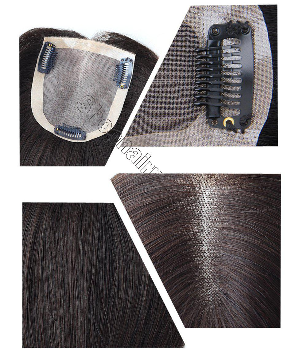 """4""""x4.7"""" Mono Human Hair Crown Wig Topper Women's Clip in Top Hair Piece for Thinning Hair 4"""