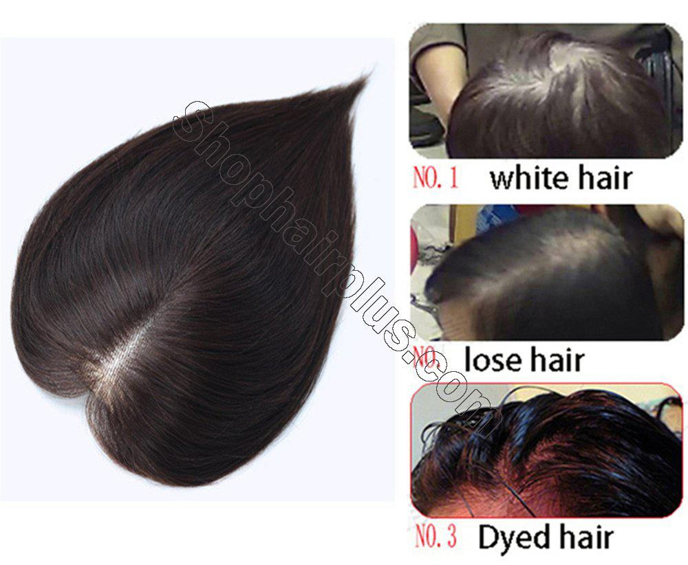 """4""""x4.7"""" Mono Human Hair Crown Wig Topper Women's Clip in Top Hair Piece for Thinning Hair 5"""