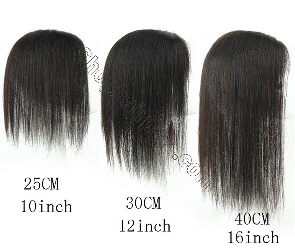 """4""""x4.7"""" Mono Human Hair Crown Wig Topper Women's Clip in Top Hair Piece for Thinning Hair 6"""