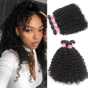 4pcs/pack Brazilian Jerry Curly Virgin Hair Weaves