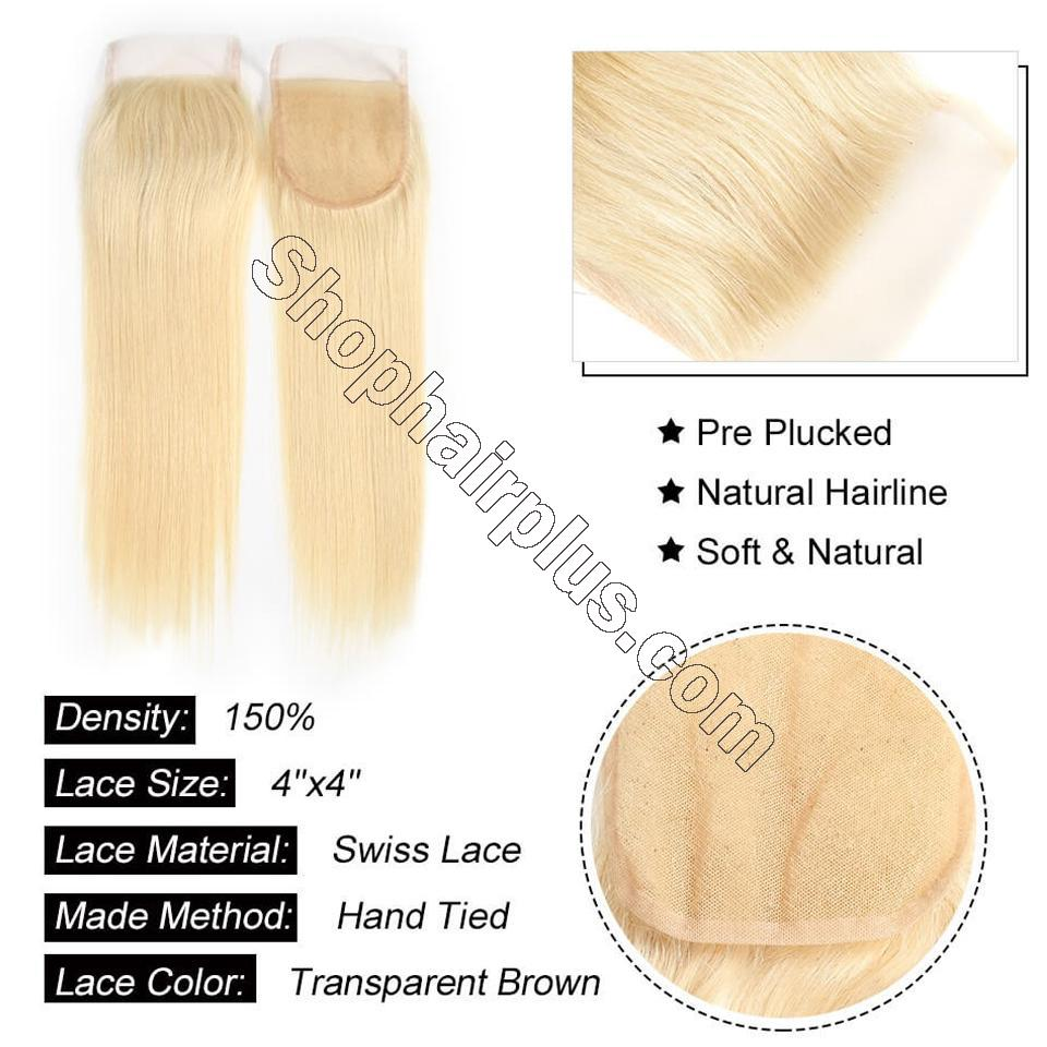 613 Blonde Straight Hair 4*4 Free Part Lace Closure, 100% Human Hair On Deals 4