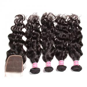 7A  4 Bundles Brazilian Natural Wave Virgin Hair with lace Closure Human Hair Extension