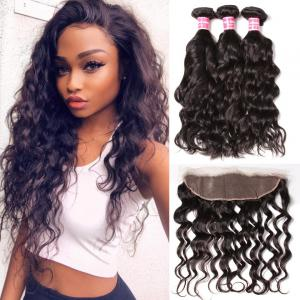 7A Brazilian Natural Wave 3 Bundles with Lace Frontal Closure Human Virgin Hair Extension