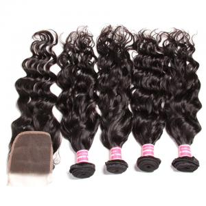 7A Grade Indian Natural Wave 4 Bundles with Free Part Lace Closure, 100% Virgin Human Hair Weave on Sale