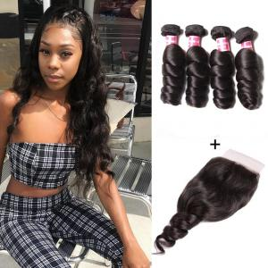 7A Grade Malaysian Loose Wave 4 Bundles with 4*4 Lace Closure