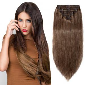 8 Pcs Double Weft Straight Clip In Remy Hair Extensions #30 Light Auburn