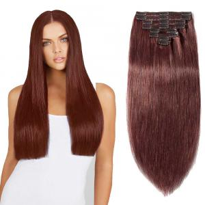 8 Pcs Double Weft Straight Clip In Remy Hair Extensions #33 Dark Auburn
