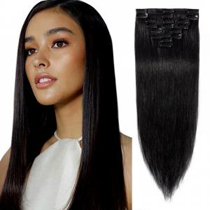 8 Pcs Straight Clip In Remy Hair Extensions #1 Dark Black