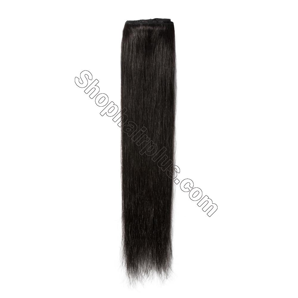 8 Pcs Straight Clip In Remy Hair Extensions #1B Natural Black 5