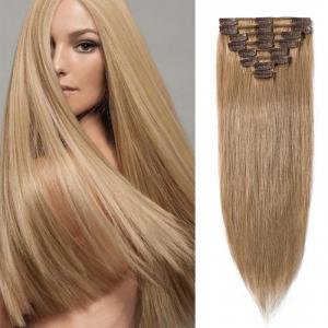 8 Pcs Straight Clip In Remy Hair Extensions #27 Dark Blonde