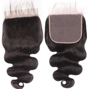 8A Body Wave 7x7 Lace Closure Human Hair Deep Parting Space Swiss Lace Closure with Baby Hair