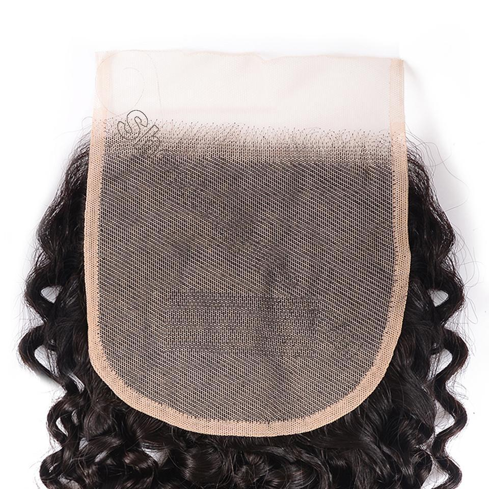8A Curly Hair 5x5 Transparent Lace Closure 100% Human Hair Pre Plucked Swiss Lace Closure 5