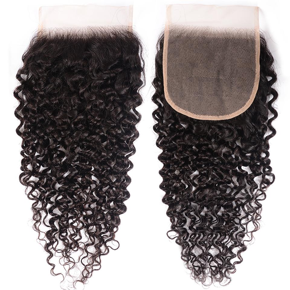 8A Curly Hair 5x5 Transparent Lace Closure 100% Human Hair Pre Plucked Swiss Lace Closure 7