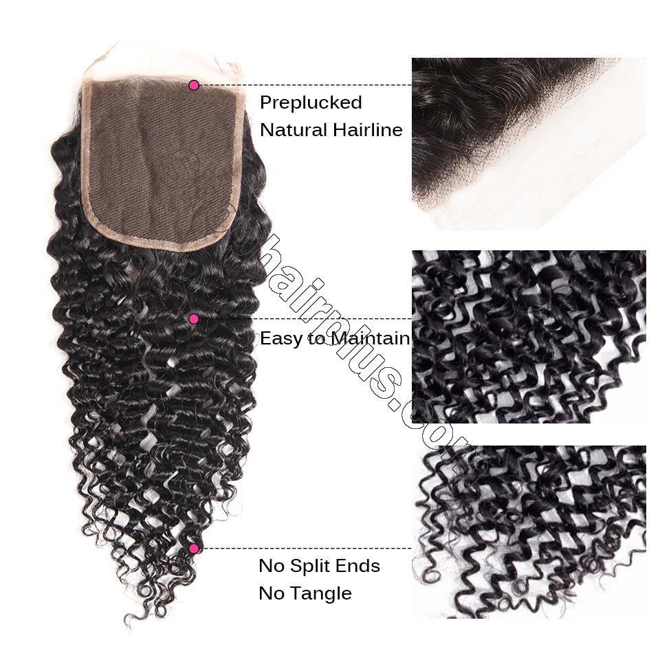8A Grade Jerry Curly 5x5 Lace Closure Human Hair Free Part Swiss Lace Closure PrePlucked 3