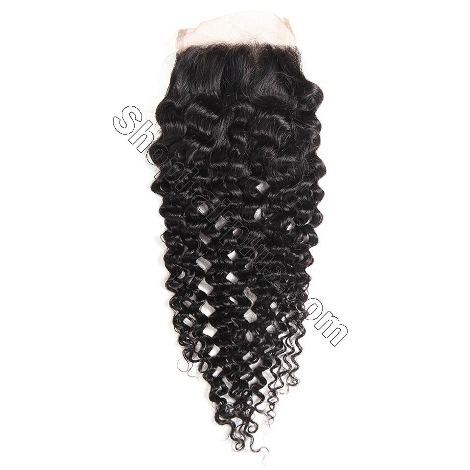 8A Grade Jerry Curly 5x5 Lace Closure Human Hair Free Part Swiss Lace Closure PrePlucked 5