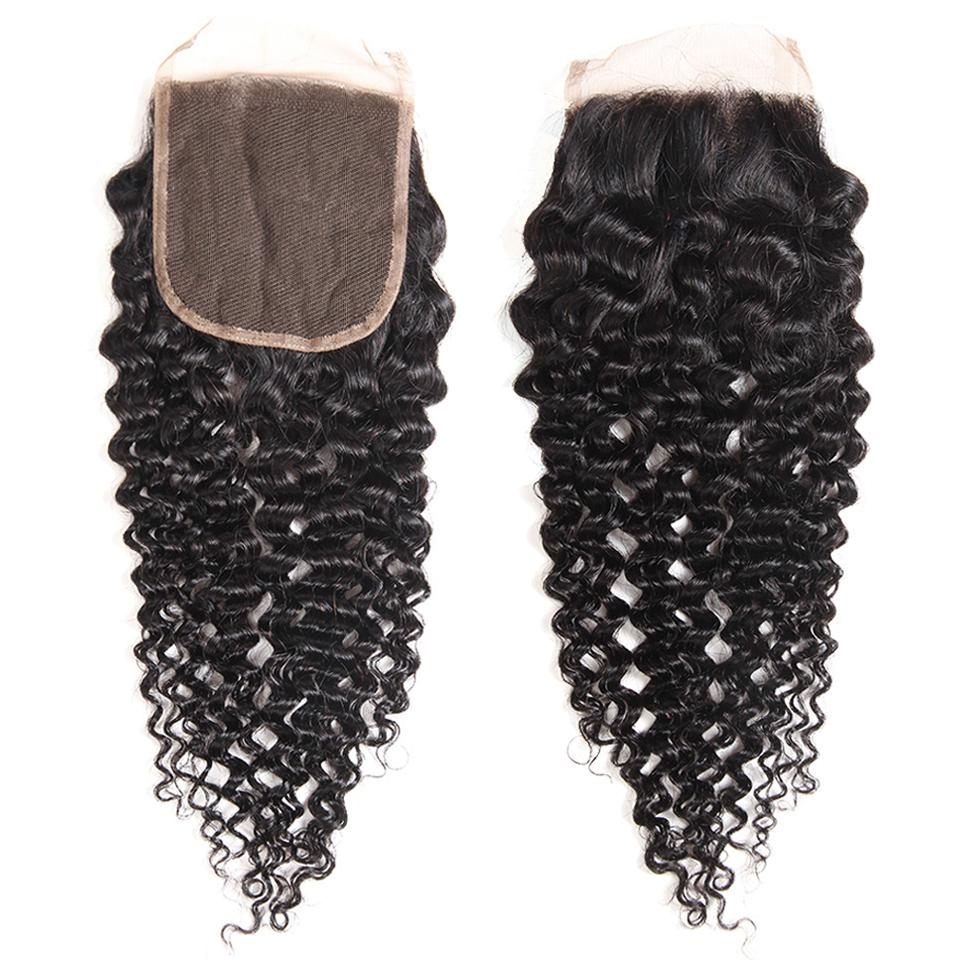 8A Grade Jerry Curly 5x5 Lace Closure Human Hair Free Part Swiss Lace Closure PrePlucked 8