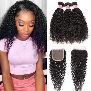 8A Virgin Curly Hair with 4x4 Invisible Lace Closure Free Part Pre Plucked for Black Women