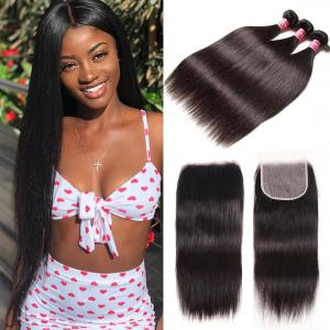 8A Virgin Straight Hair 3 Bundles with 6x6 Lace Closure Pre Plucked Deep Parting Space