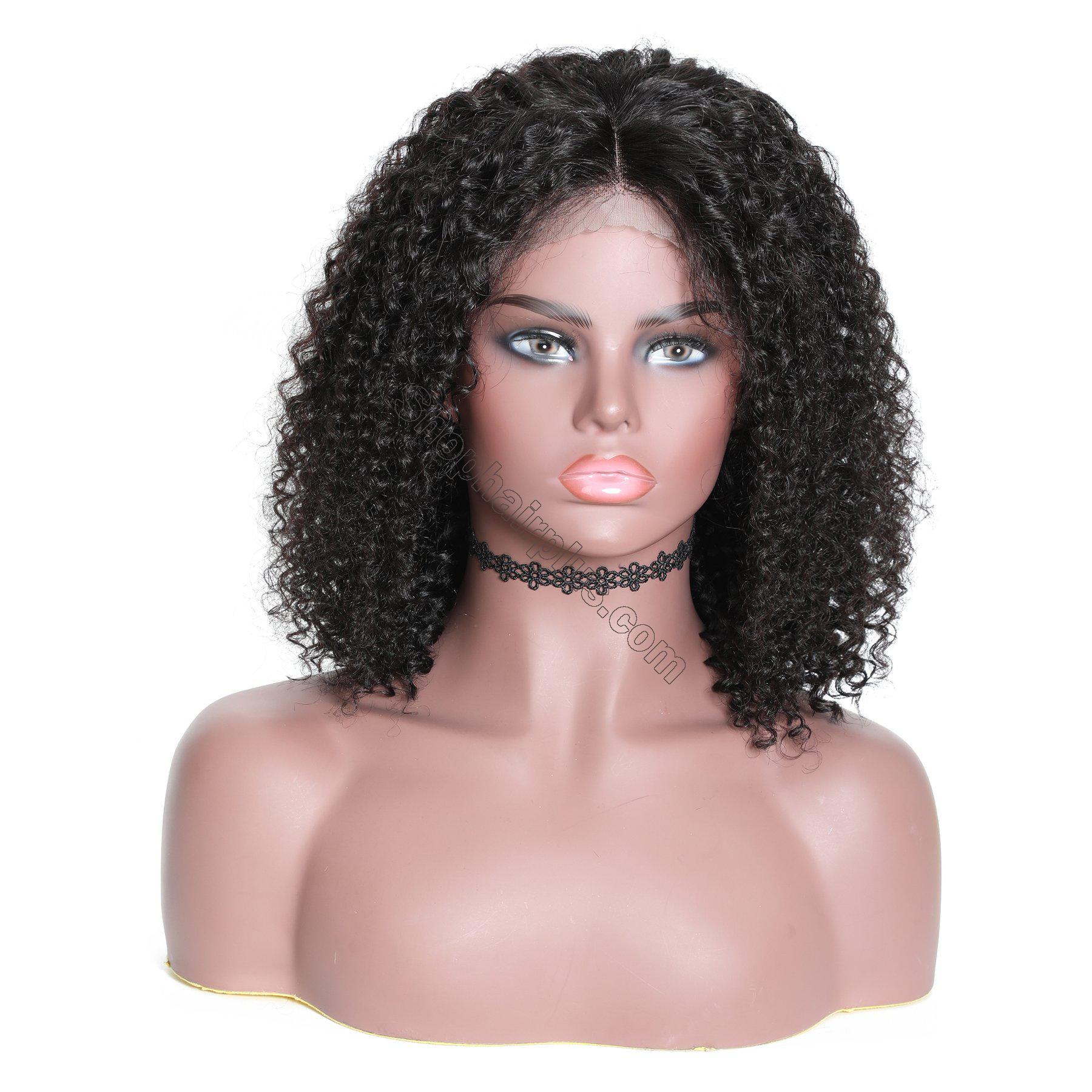 9A 13*4 Short Bob Curly Hair Lace Front Wig On Deals, 150%/180% Densit 2