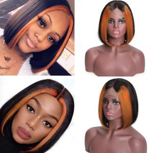 9A 13x4 Lace Front Human Hair Wigs Ombre Color Brazilian Straight Frontal Wigs 150% Density TL30 Color Short Bob Wigs With Highlights